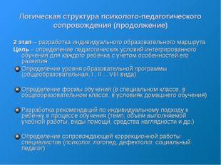 Логическая структура психолого-педагогического сопровождения (продолжение) 2