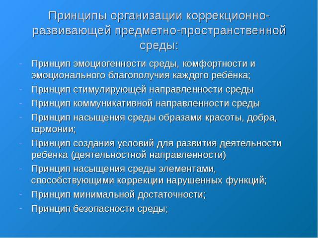 Принципы организации коррекционно-развивающей предметно-пространственной сред...
