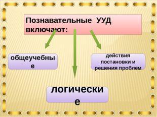 Познавательные УУД включают: общеучебные действия постановки и решения пробле