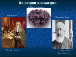 Из истории индикаторов 1640 год - гелиотроп 1663 год – лакмус 1871 год – синт