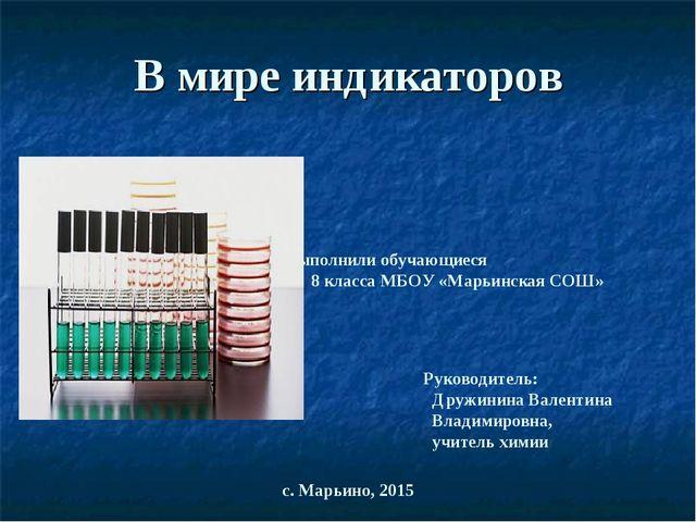 В мире индикаторов Выполнили обучающиеся 8 класса МБОУ «Марьинская СОШ» Руков...