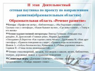 II этап Деятельностный сетевая паутинка по проекту по направлениям развития(о