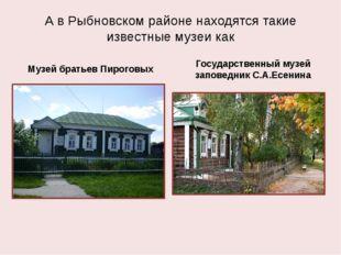 А в Рыбновском районе находятся такие известные музеи как Музей братьев Пирог