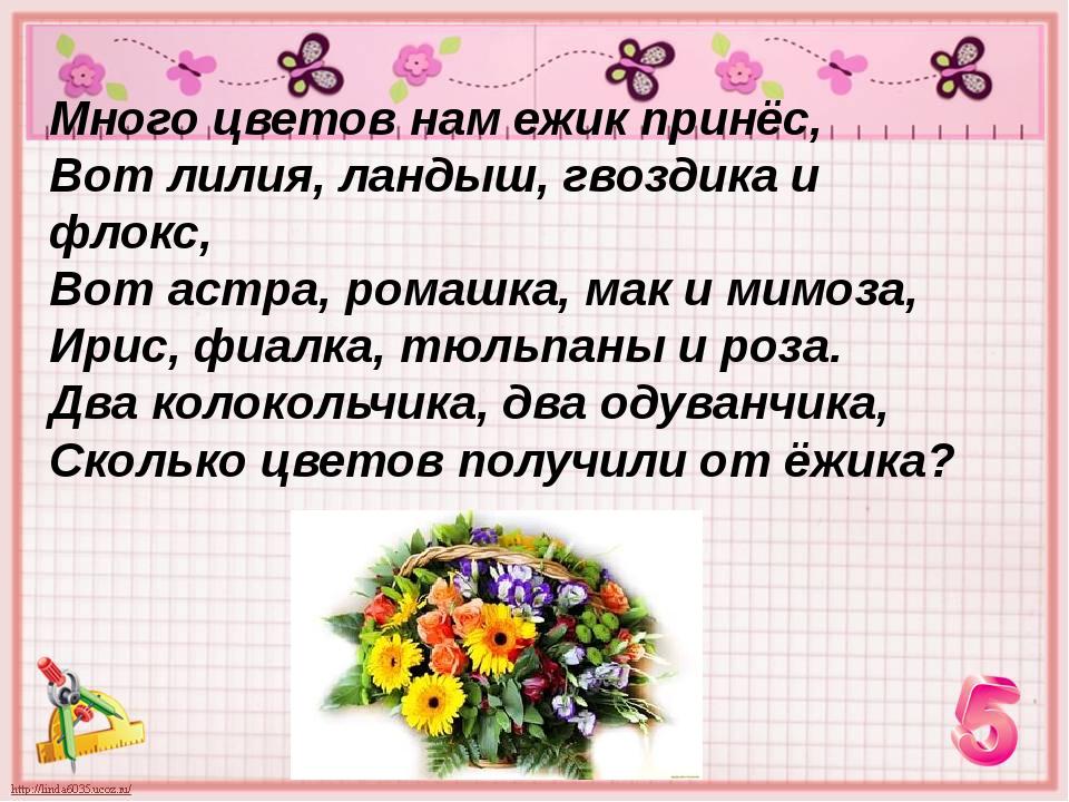 Много цветов нам ежик принёс, Вот лилия, ландыш, гвоздика и флокс, Вот астра,...