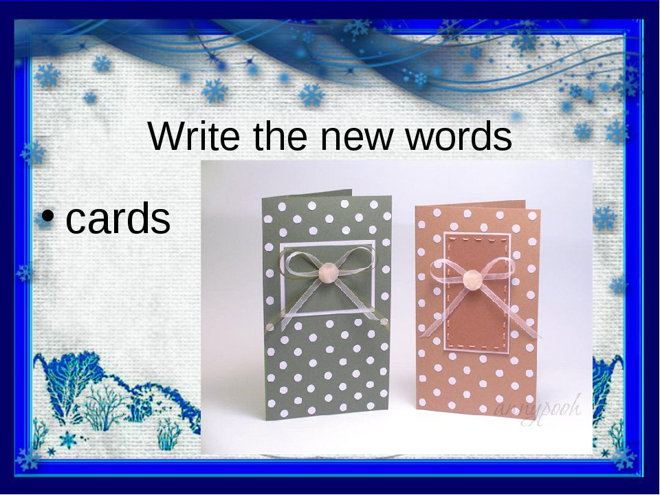 Write the new words cards