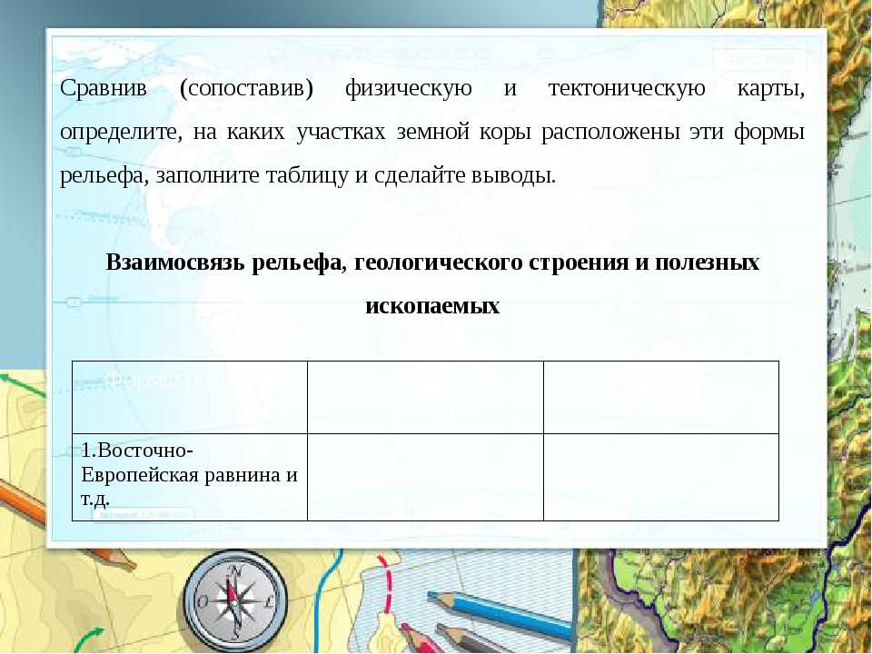 Сравнив (сопоставив) физическую и тектоническую карты, определите, на каких у...