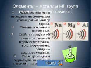 Элементы – металлы I-III групп главных подгрупп имеют: Число электронов на по