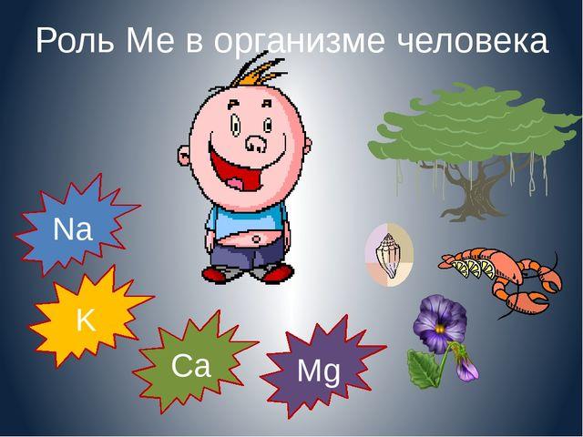 Роль Ме в организме человека Na K Mg Ca