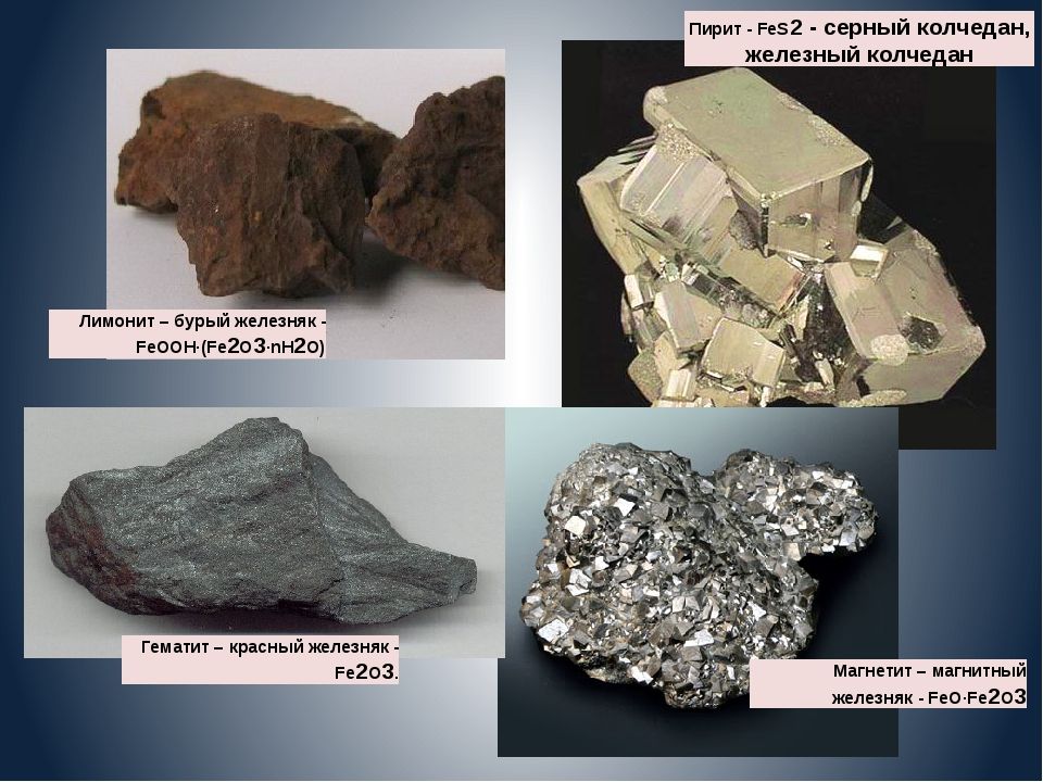 Лимонит – бурый железняк - FeOOH·(Fe2O3·nH2O) Гематит – красный железняк - Fe...