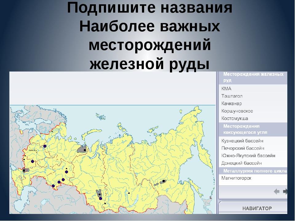 Подпишите названия Наиболее важных месторождений железной руды