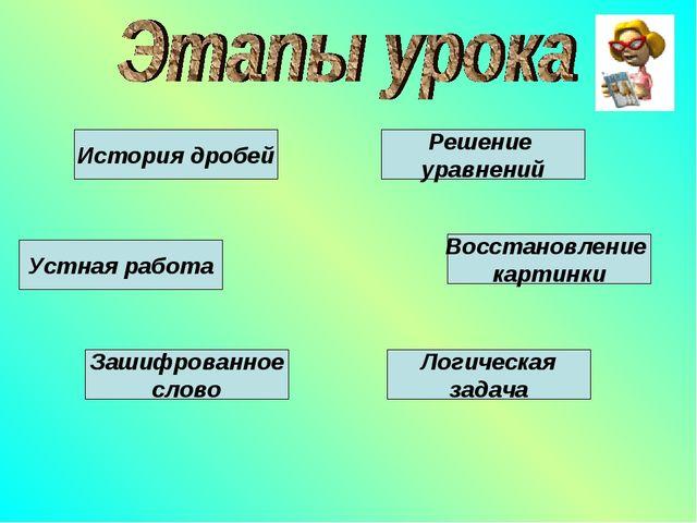 Устная работа История дробей Зашифрованное слово Решение уравнений Восстановл...