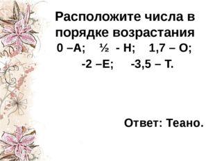 Расположите числа в порядке возрастания 0 –А; ½ - Н; 1,7 – О; -2 –Е; -3,5 – Т