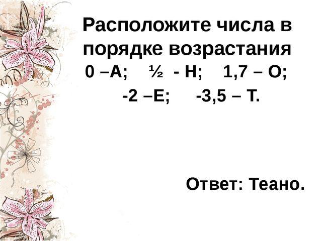 Расположите числа в порядке возрастания 0 –А; ½ - Н; 1,7 – О; -2 –Е; -3,5 – Т...