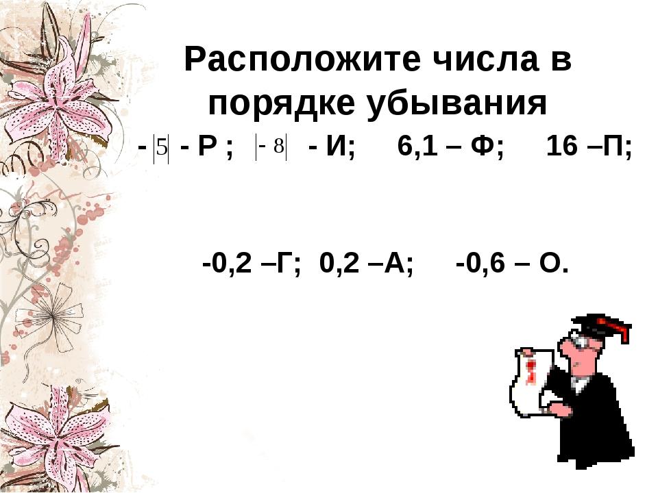 Расположите числа в порядке убывания - - Р ; - И; 6,1 – Ф; 16 –П; -0,2 –Г; 0,...