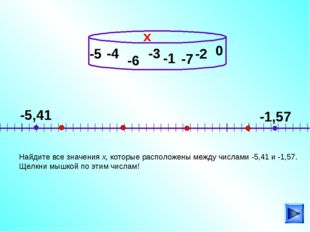 -4 Найдите все значения х, которые расположены между числами -5,41 и -1,57. Щ