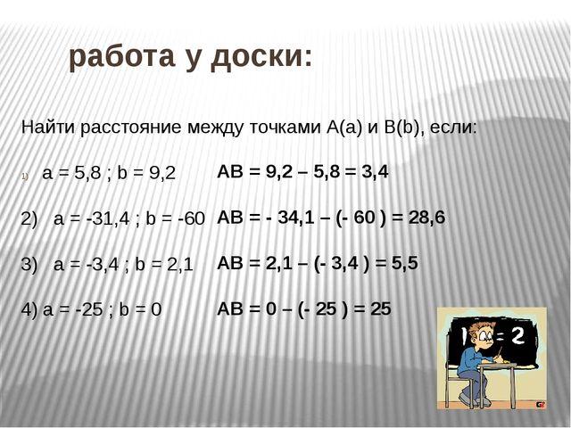 работа у доски: Найти расстояние между точками А(а) и В(b), если: а = 5,8 ;...