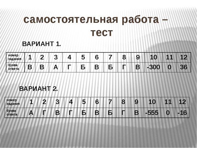 самостоятельная работа – тест ВАРИАНТ 1. ВАРИАНТ 2. номер задания 1 2 3 4 5...