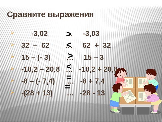 Сравните выражения -3,02 … -3,03 32 – 62 … 62 + 32 15 – (- 3) … 15 – 3 -18,2...
