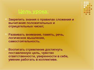Цель урока: Закрепить знания о правилах сложения и вычитания положительных и