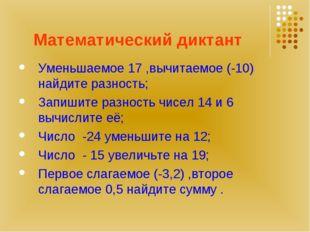 Математический диктант Уменьшаемое 17 ,вычитаемое (-10) найдите разность; Зап