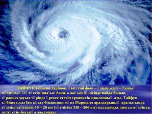 ТАЙФУН(ағылш. typhoon, қыт. тай фын – үлкен жел) –Тынық мұхиттыңОңтүстік-