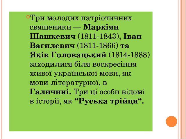 Три молодих патріотичних священики — Маркіян Шашкевич (1811-1843), Іван Вагил...