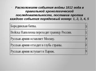 Расположите события войны 1812 года в правильной хронологической последовател