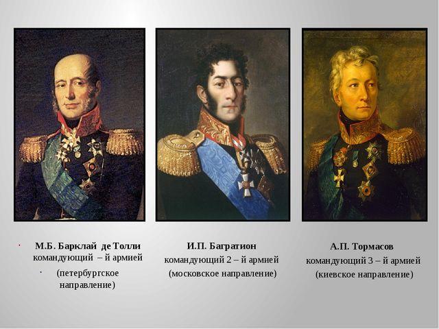 М.Б. Барклай де Толли командующий – й армией (петербургское направление) И.П....
