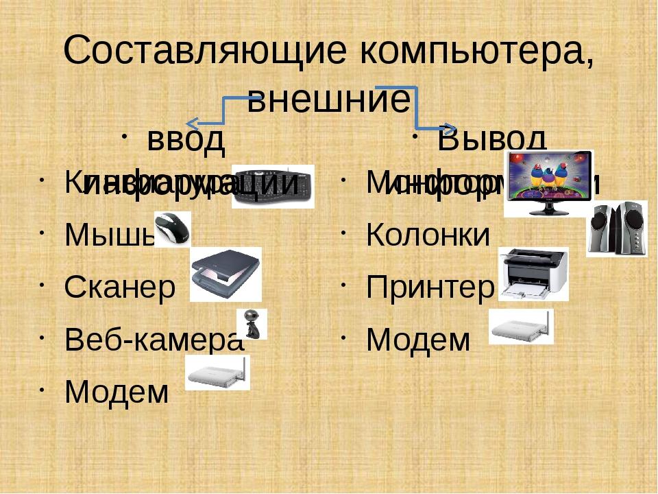 Составляющие компьютера, внешние ввод информации Клавиатура Мышь Сканер Веб-к...