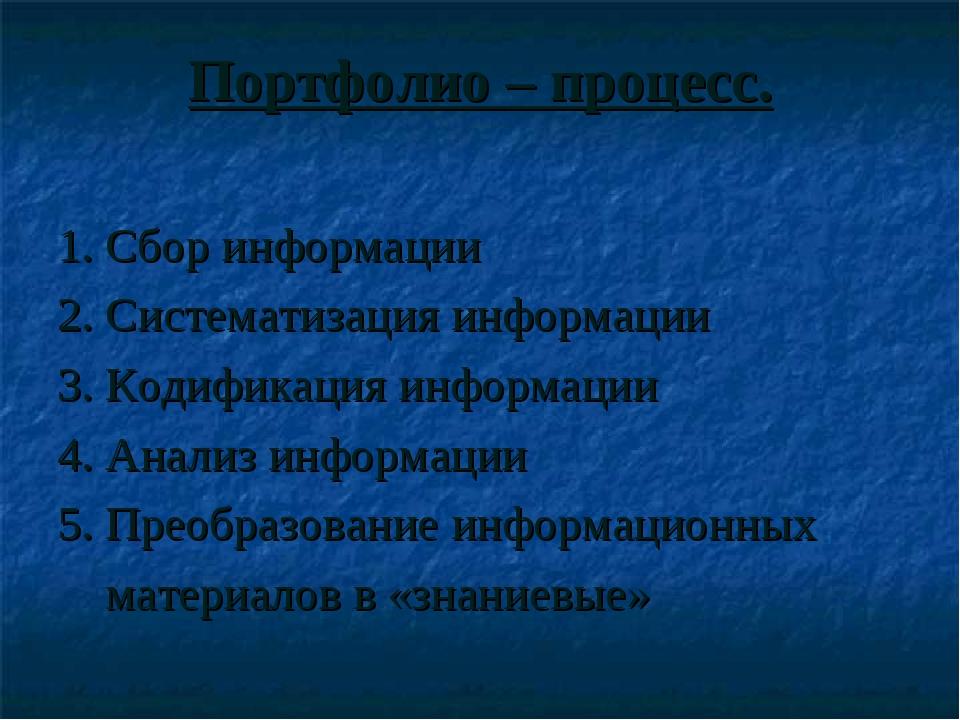 Портфолио – процесс. 1. Сбор информации 2. Систематизация информации 3. Кодиф...