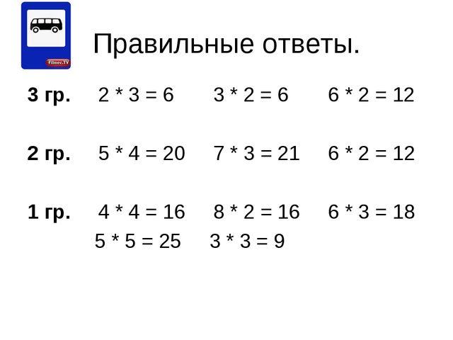 Правильные ответы. 3 гр. 2 * 3 = 6 3 * 2 = 6 6 * 2 = 12 2 гр. 5 * 4 = 20 7 *...