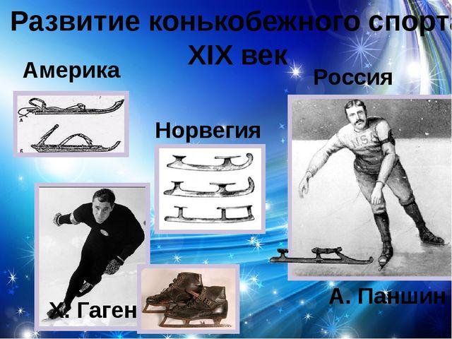 Развитие конькобежного спорта XIX век Америка Норвегия Х. Гаген Россия А. Пан...