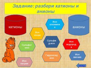 Задание: разбери катионы и анионы катионы анионы Ион натрия Ион хлора Ион алю