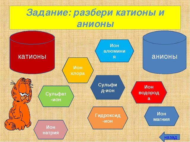 Задание: разбери катионы и анионы катионы анионы Ион натрия Ион хлора Ион алю...
