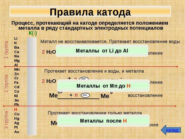 Процесс, протекающий на катоде определяется положением металла в ряду стандар...