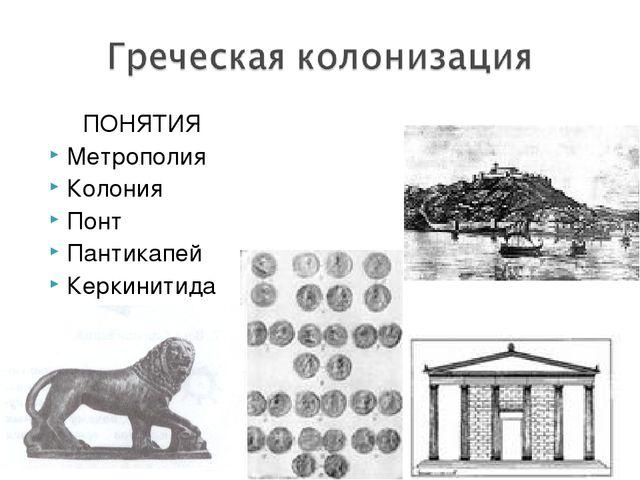 ПОНЯТИЯ Метрополия Колония Понт Пантикапей Керкинитида