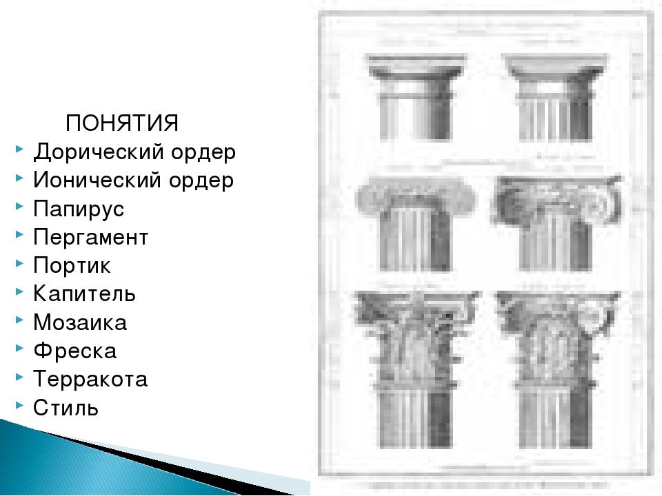 ПОНЯТИЯ Дорический ордер Ионический ордер Папирус Пергамент Портик Капитель...