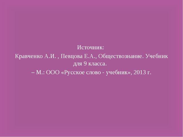 Источник: Кравченко А.И. , Певцова Е.А., Обществознание. Учебник для 9 класса...
