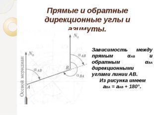 Прямые и обратные дирекционные углы и азимуты. Зависимость между прямым αАВ и
