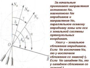 За начальные принимают направления истинного Nи, магнитного Nм меридианов и