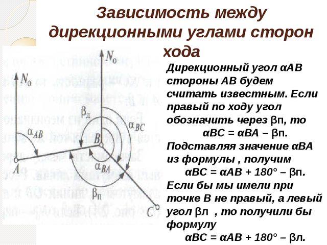 Зависимость между дирекционными углами сторон хода Дирекционный угол αАВ стор...