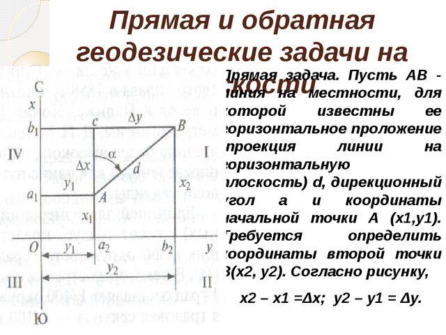 Прямая и обратная геодезические задачи на плоскости Прямая задача. Пусть АВ -...