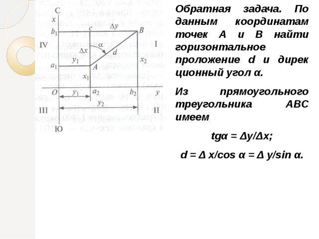 Обратная задача. По данным координатам точек А и В найти горизонтальное проло...
