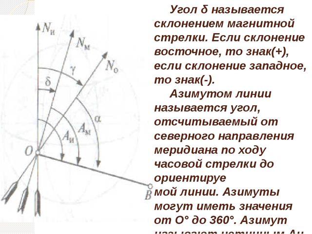 Угол δ называется склонением магнитной стрелки. Если склонение восточное, то...