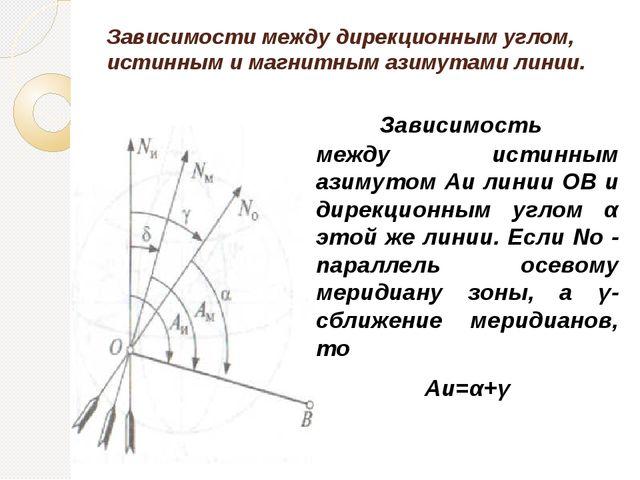 Зависимости между дирекционным углом, истинным и магнитным азимутами линии....