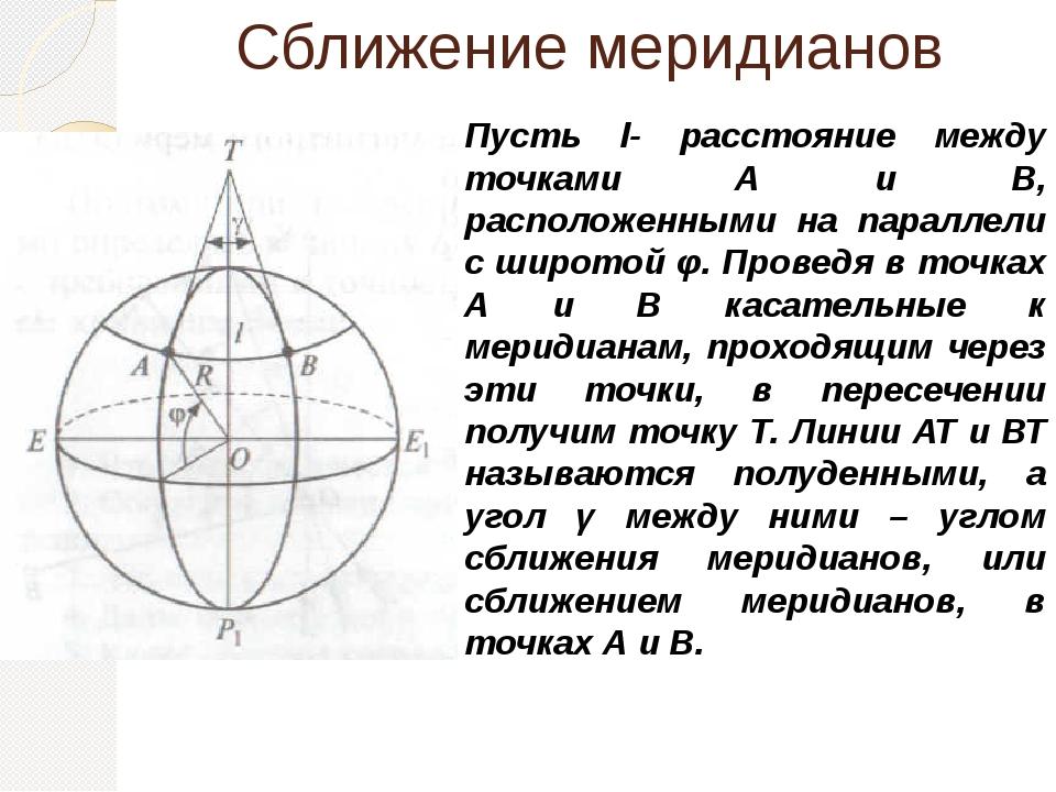 Сближение меридианов Пусть l- расстояние между точками А и В, расположенными...
