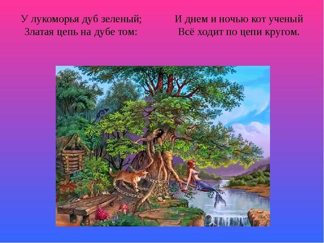 У лукоморья дуб зеленый; И днем и ночью кот ученый Златая цепь на дубе том: В...