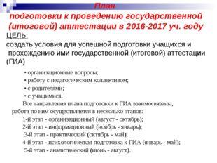 План подготовки к проведению государственной (итоговой) аттестации в 2016-20
