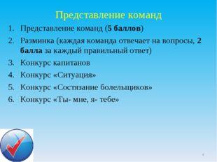 Представление команд Представление команд (5 баллов) Разминка (каждая команда