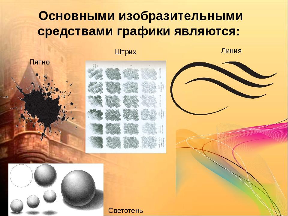 Основными изобразительными средствами графики являются: Линия Штрих Светотень...